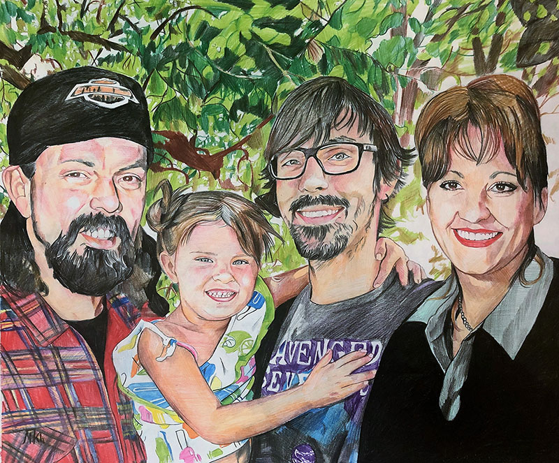 Beautiful color pencil artwork of a family