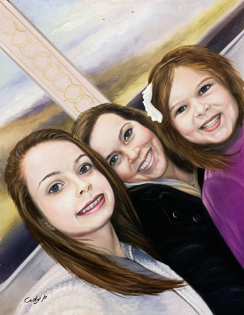 Personalized oil painting of a happy family