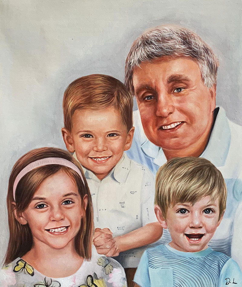 Beautiful acrylic painting of a grandfather with kids