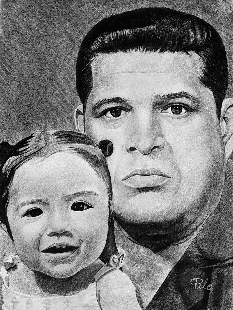Beautiful handmade charcoal painting of a father and child