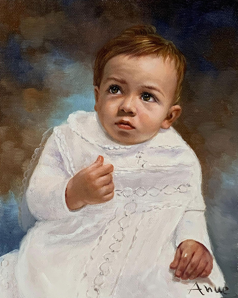 Custom oil portrait of a redhead baby