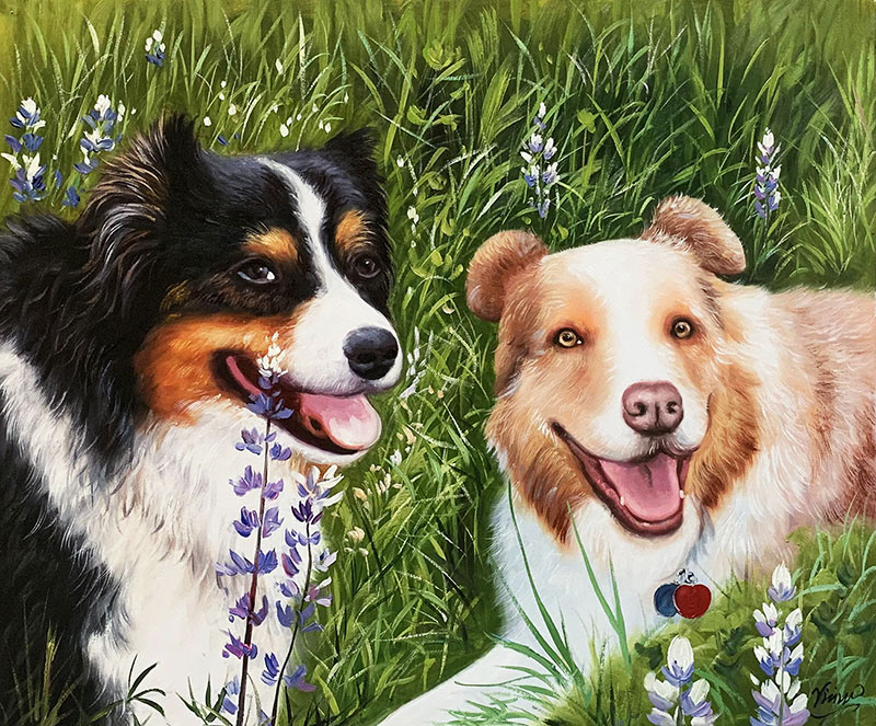Custom acrylic painting of the two dogs