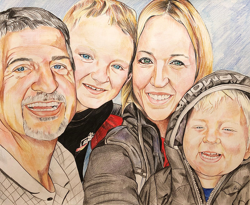 Custom color pencil artwork of a smiling family