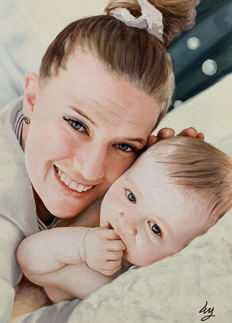 Stunning oil artwork of a mother and a baby