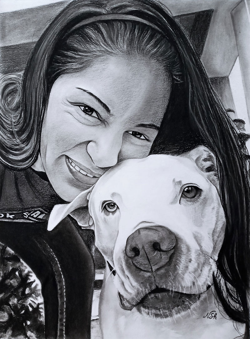 Beautiful close up charcoal painting of a girl and a dog