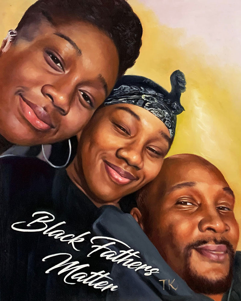 Custom oil artwork of a happy family