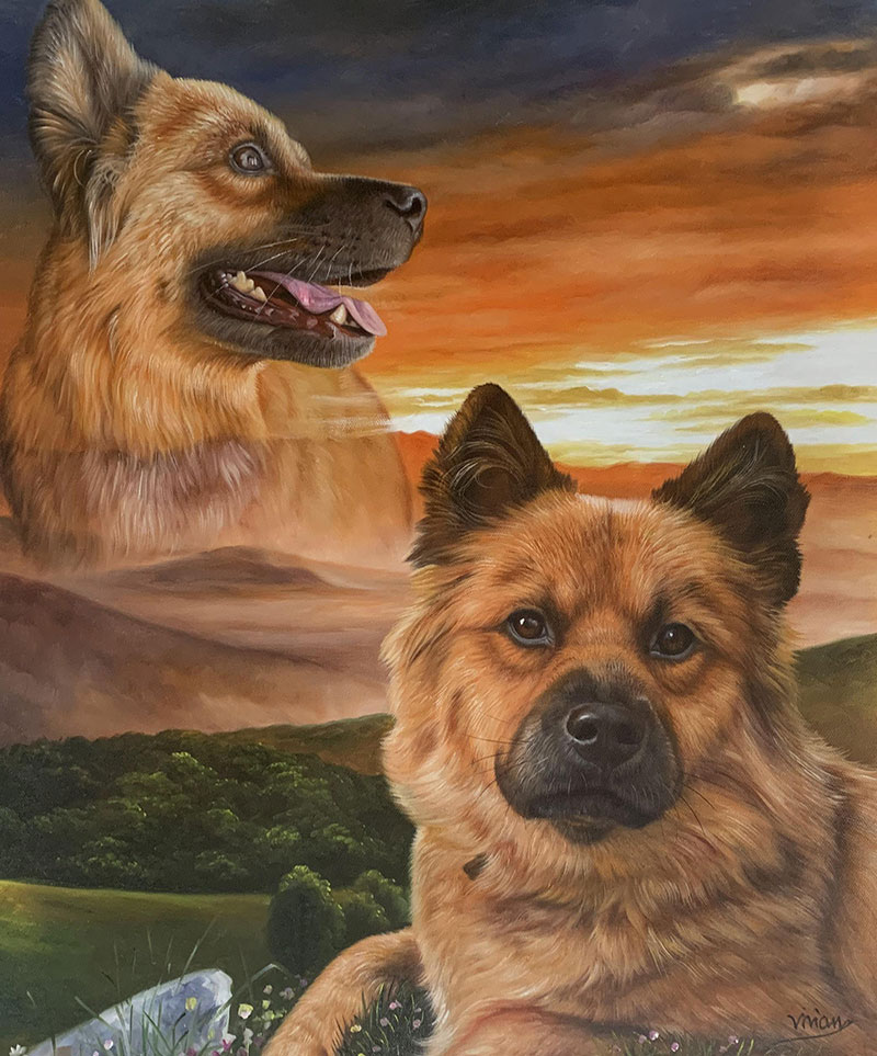 Custom oil painting of two dogs