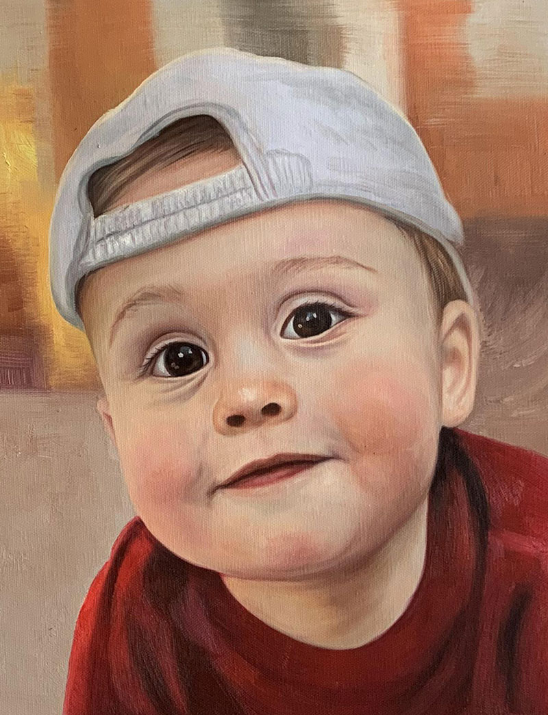 Beautiful close up oil painting of a little boy with cap