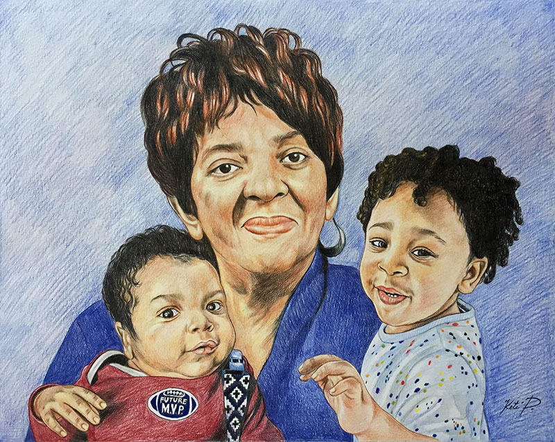 Beautiful color pencil painting of a woman with two kids