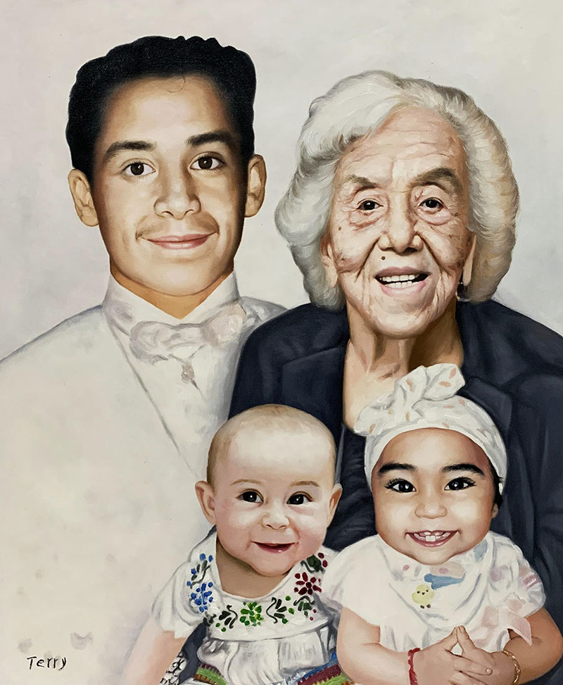 Personalized oil family portrait with a solid background
