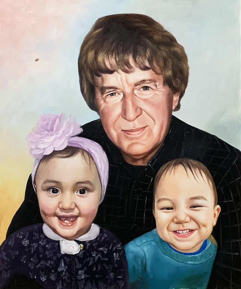 Personalized oil painting of a man with two kids