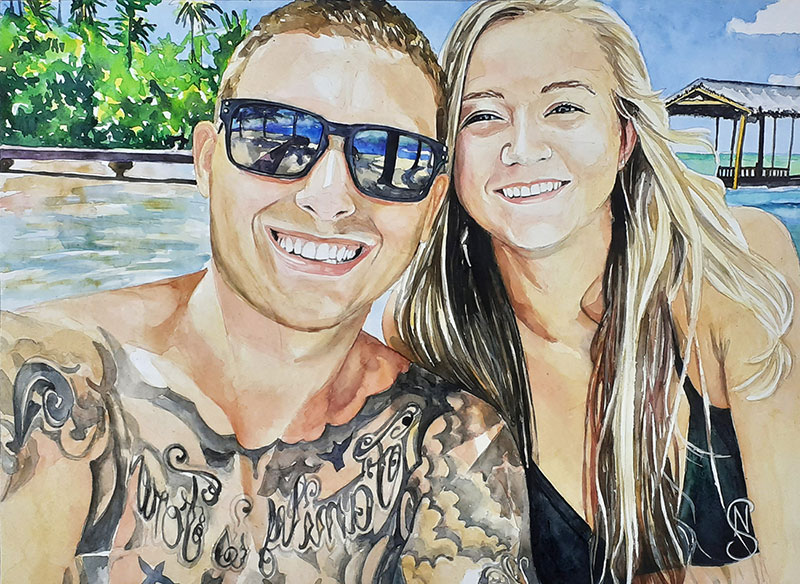 Beautiful watercolo painting of a happy couple