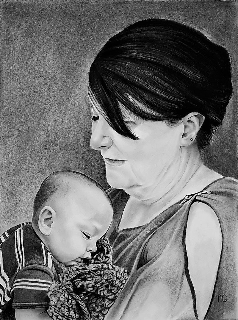 Gorgeous handmade charcoal painting of a mother and son