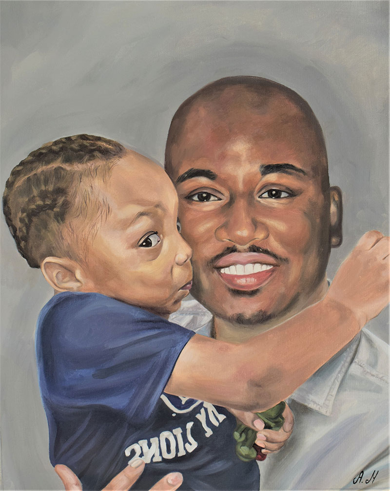 Beautiful oil painting of a child kissing a father