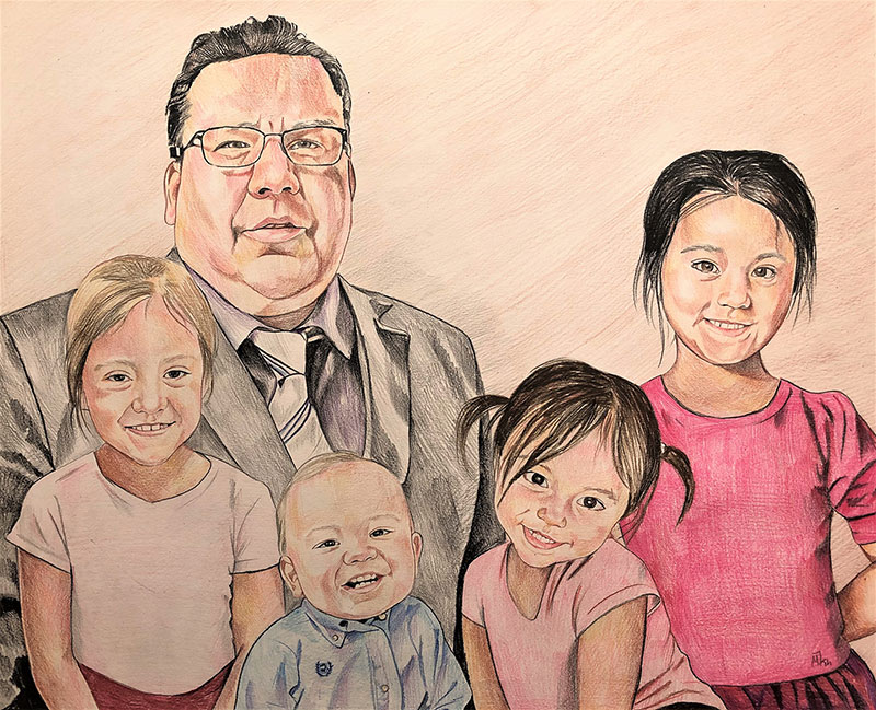 Beautiful color pencil painting of a father with children