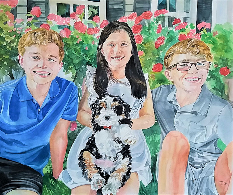 Beautiful watercolor painting of three kids with pet