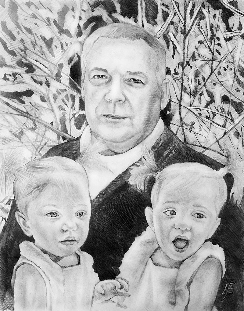 Custom black pencil painting of a grandfather with kids