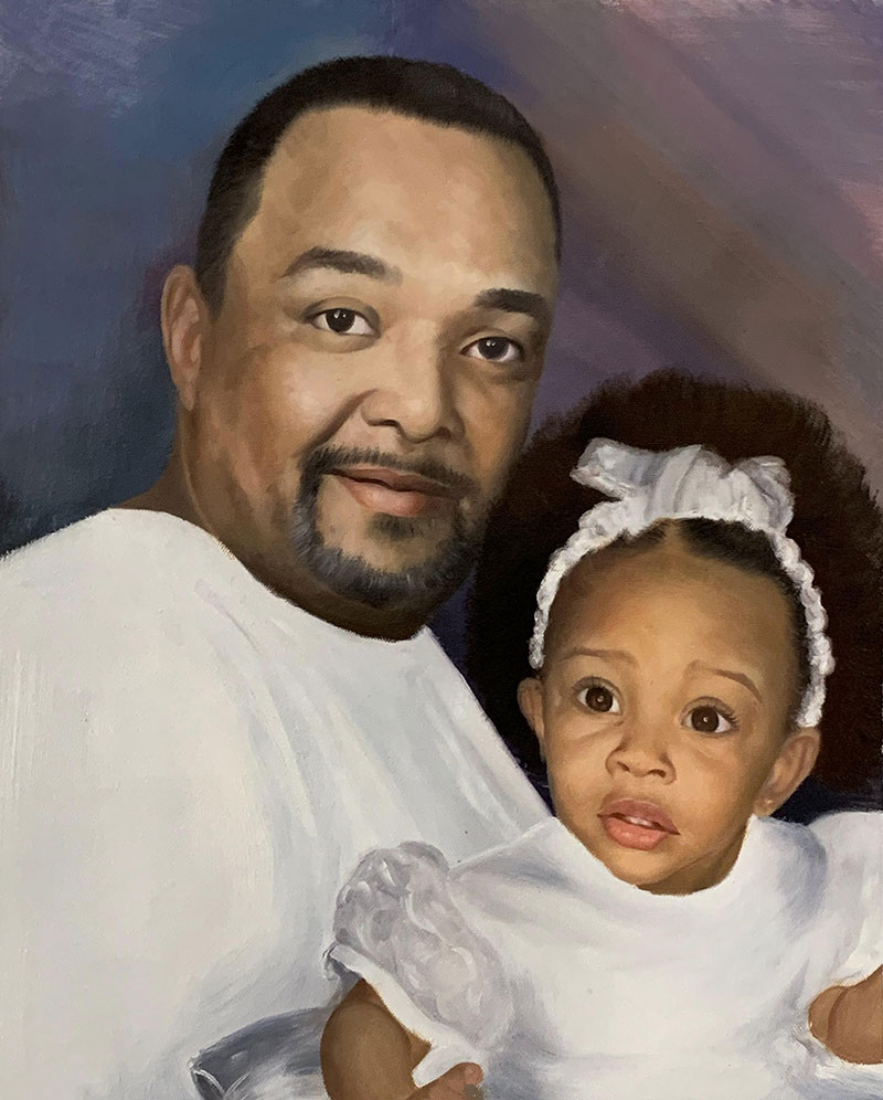 Personalized oil painting of a father and a daughter