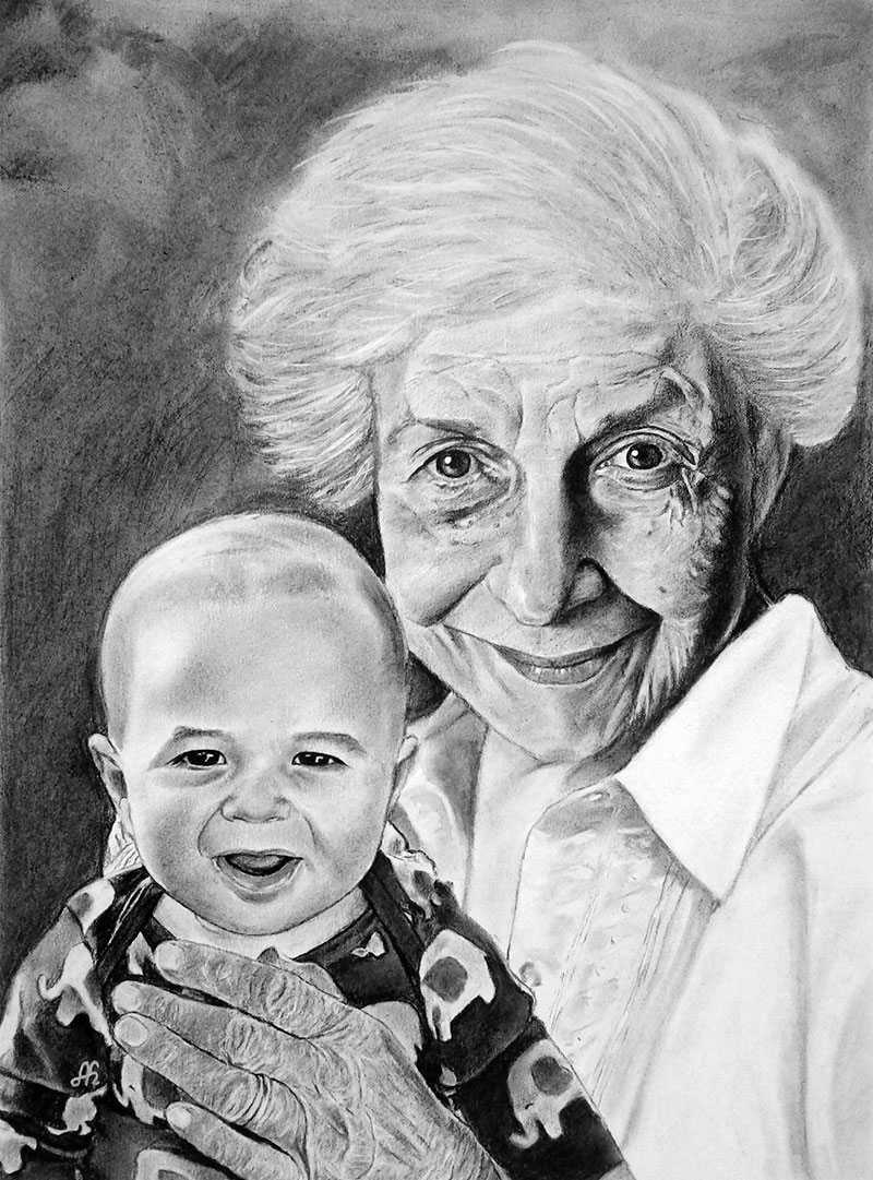 Personalize charcoal painting of a grandmother with a baby