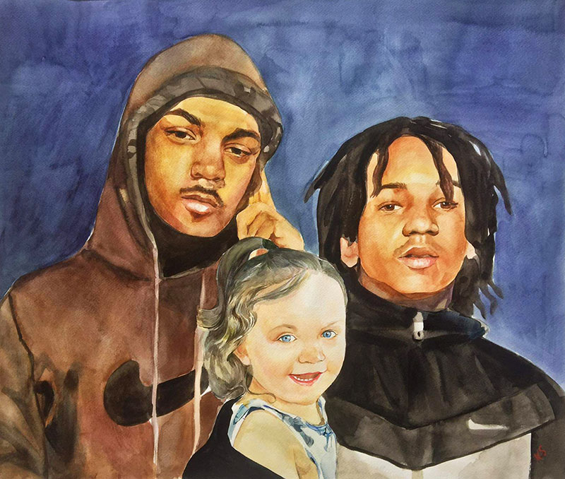 Personalized watercolor painting of two adults with a girl