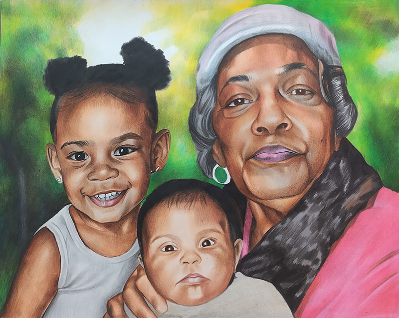 Beautiful color pencil painting of a grandmother and kids