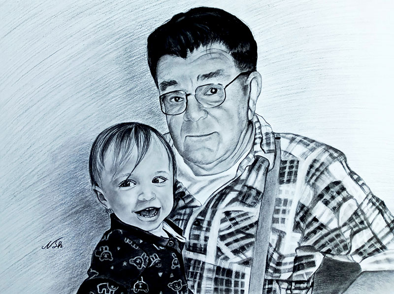 Beautiful charcoal painting of a grandfather and grand kid