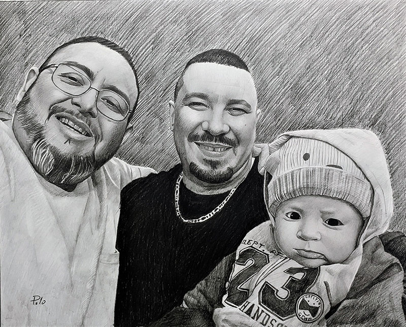 Beautiful black pencil artwork of the two men holding a baby