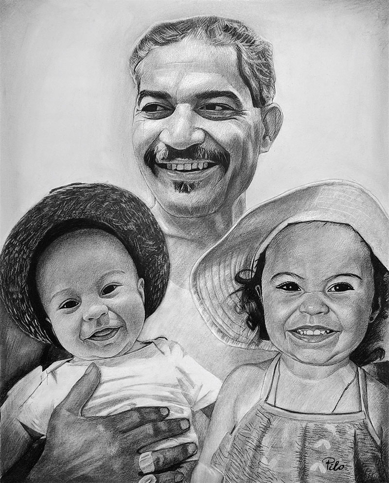 Personalized charcoal painting of a man with two kids