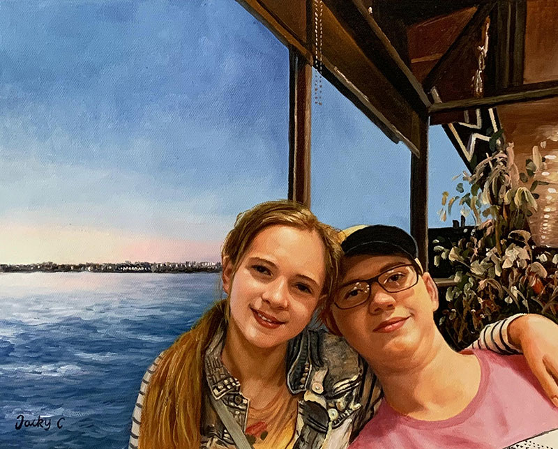 Beautiful handmade oil painting of two adults