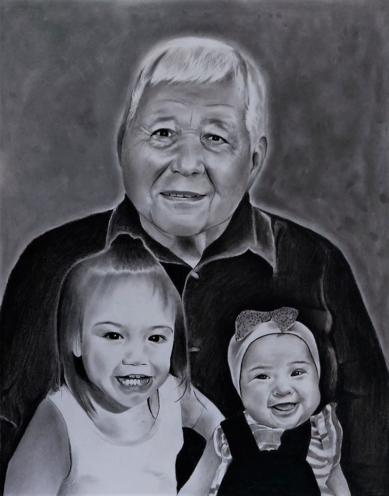 Beautiful handmade charcoal painting of a man with two kids