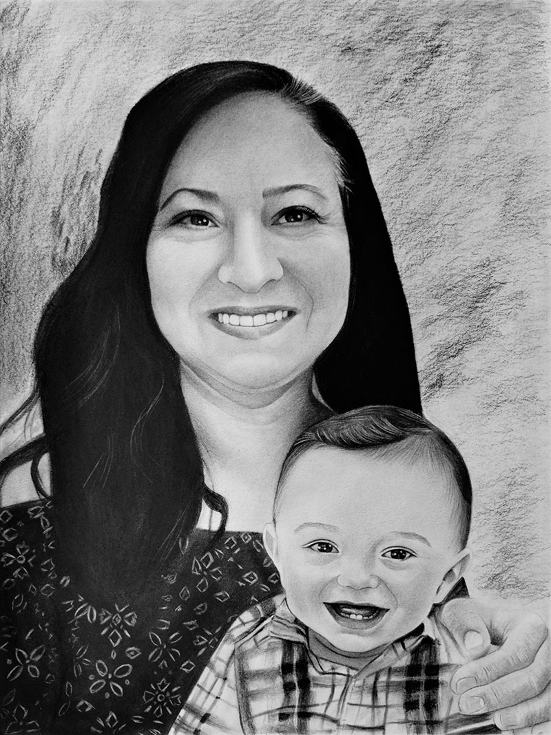 Custom charcoal portrait of a woman and a baby