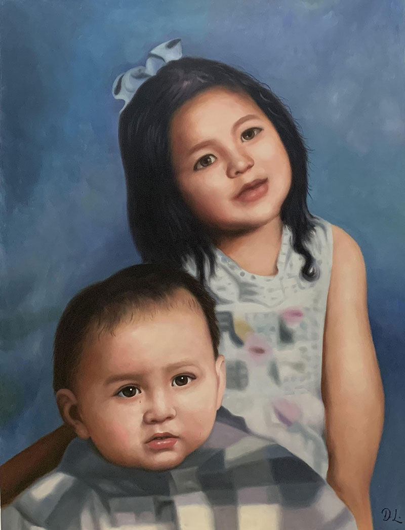 Beautiful acrylic painting of a girl and a boy