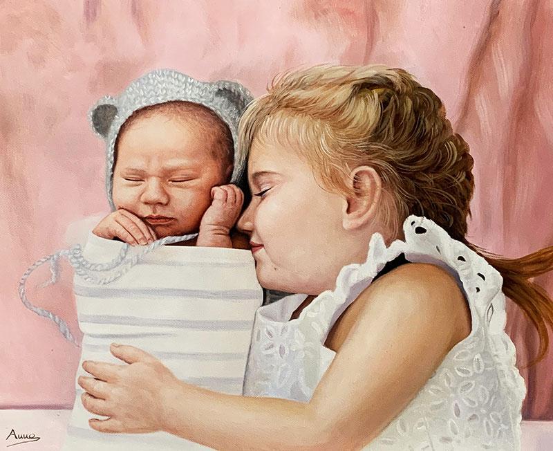 Beautiful oil handmade painting of siblings