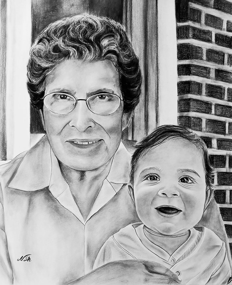 Gorgeous charcoal painting of a grandmother and a grandchild