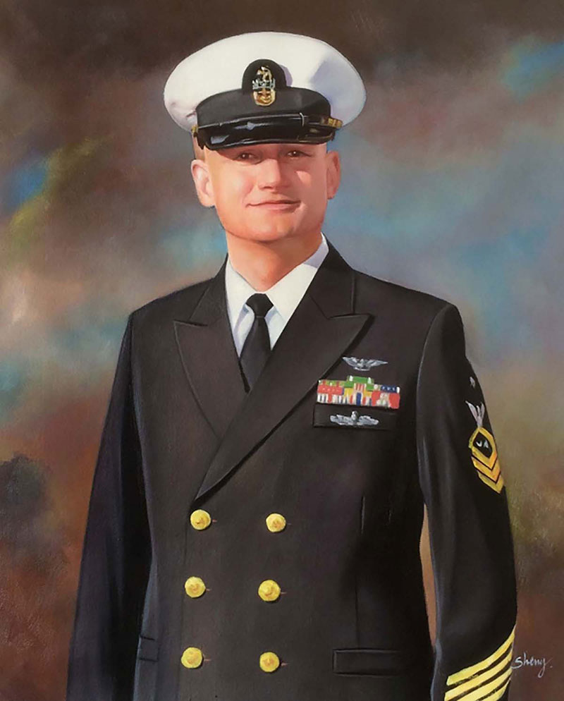 a custom oil portrait of a marine