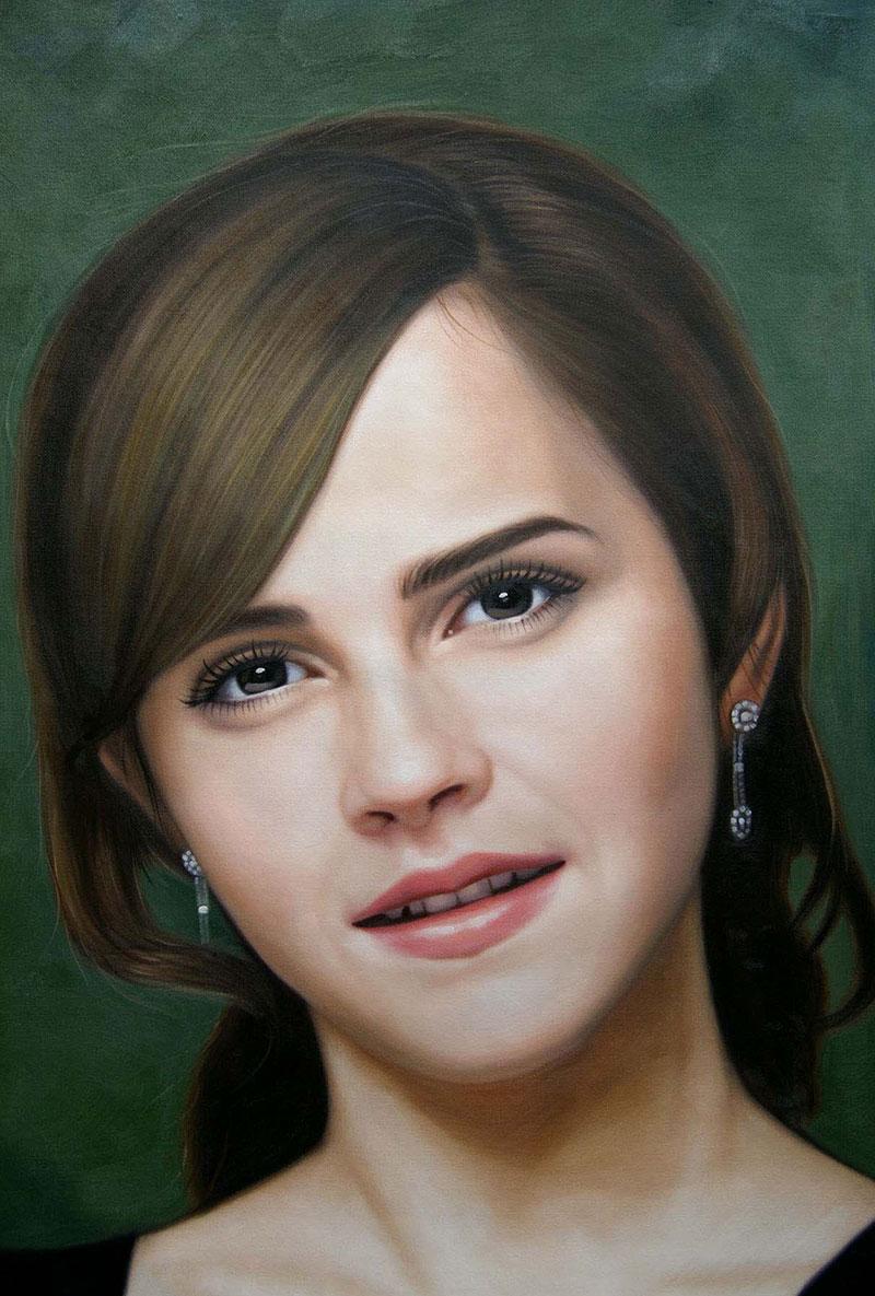 Gemälde von Emma Watson handgemalt in Öl