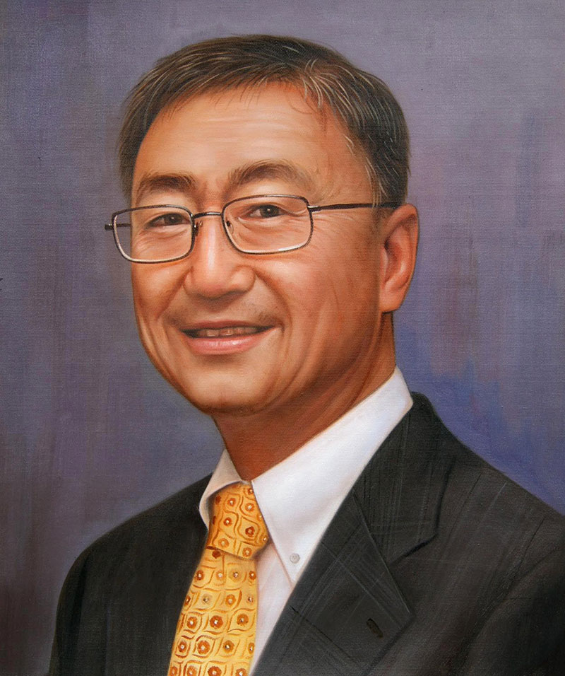 an oil portrait of an asian man in suit