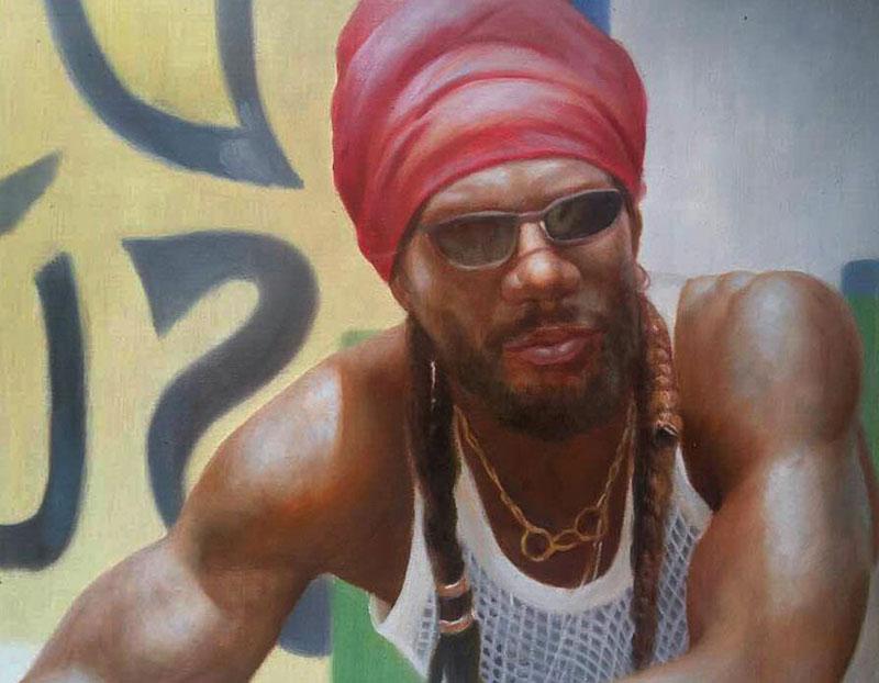 an oil custom portrait of a black man red headwear
