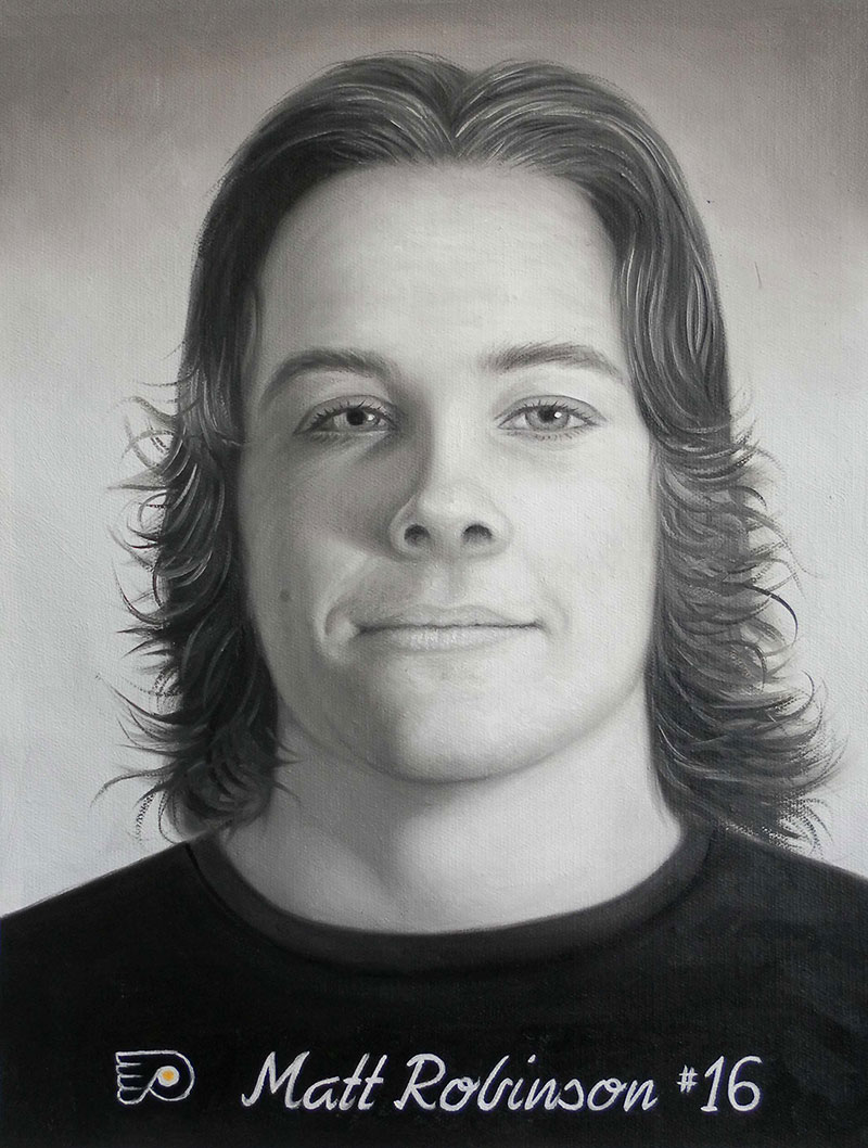a black and white oil painting of a young man