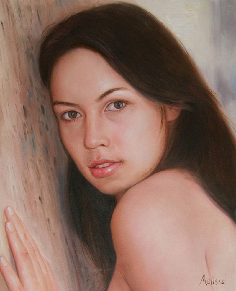 an oil painting of a brounette