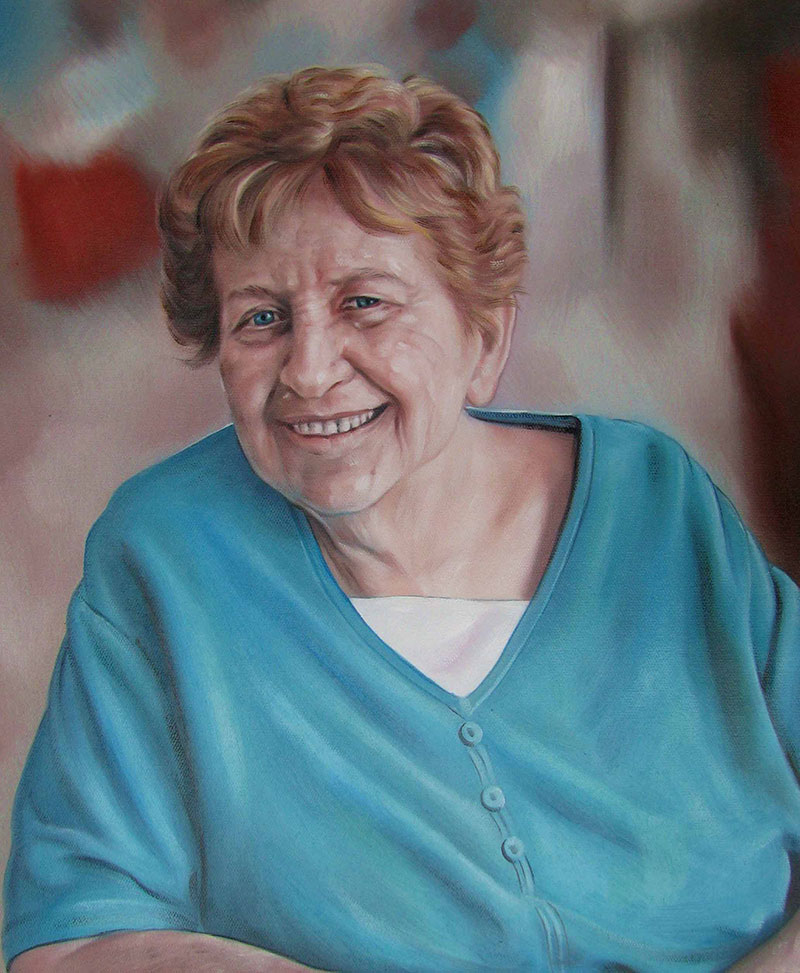 an oil painting of an elderly woman