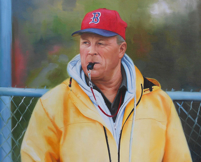 a custom oil painting of a coach in yellow