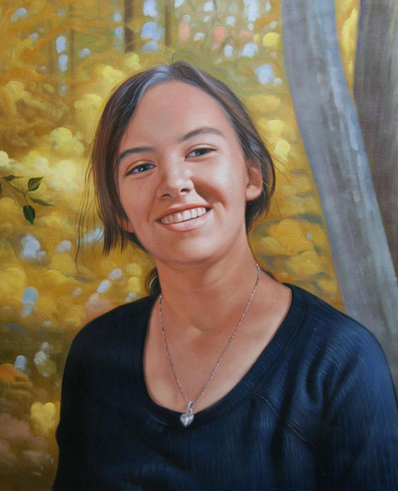 olio da foto giovane ragazza ritratto autunno