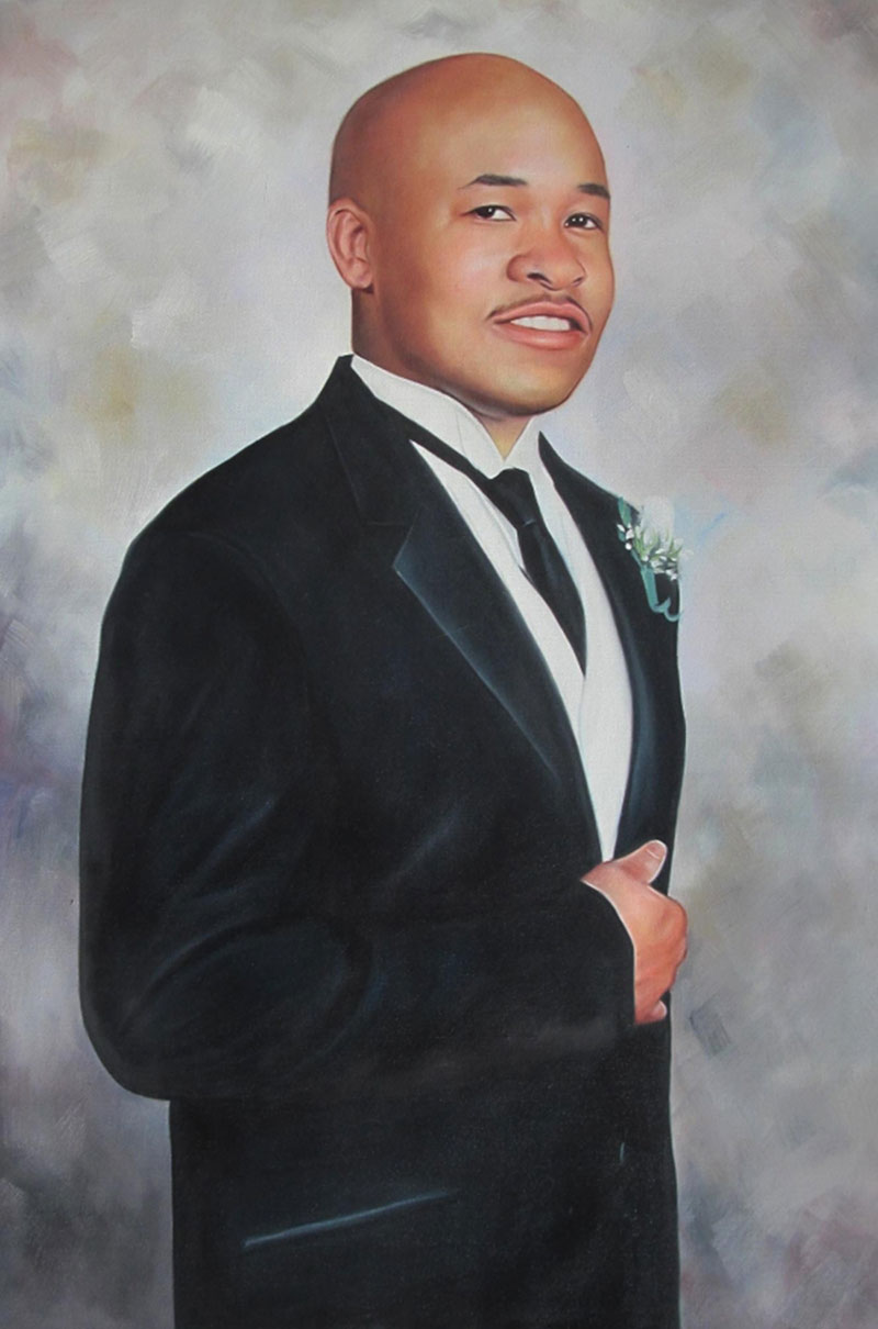 an oil painting of a bald black man in suit