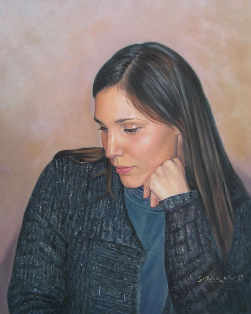 ritratto giovane donna olio da fotografia