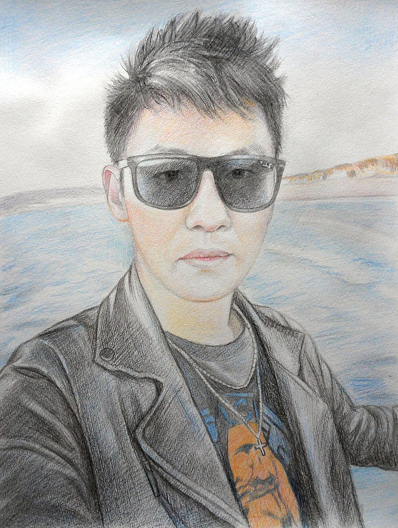 custom colored pencil portrait of Asian man out at sea