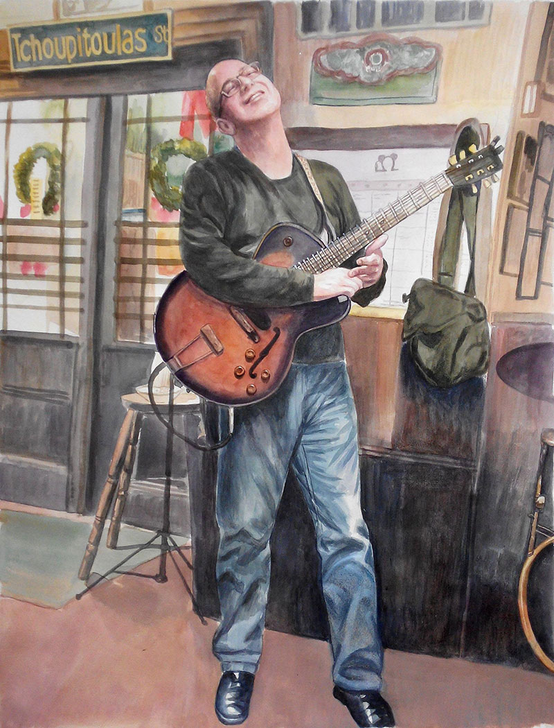 custom watercolor painting of man playing guitar