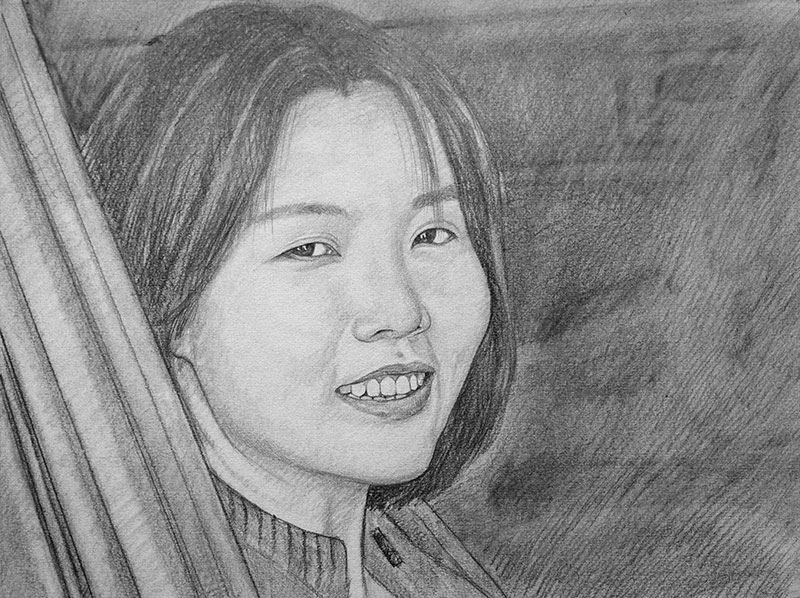 custom pencil drawing of an Asian woman smiling