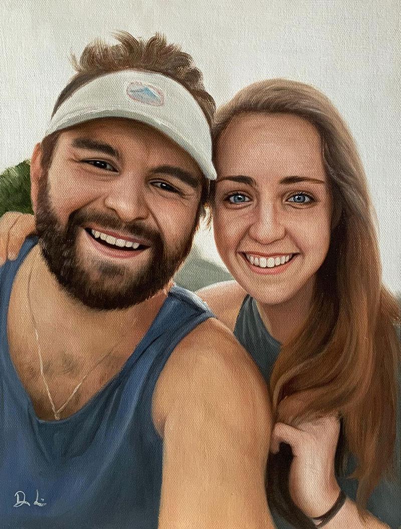 Custom handmade acrylic painting of a couple