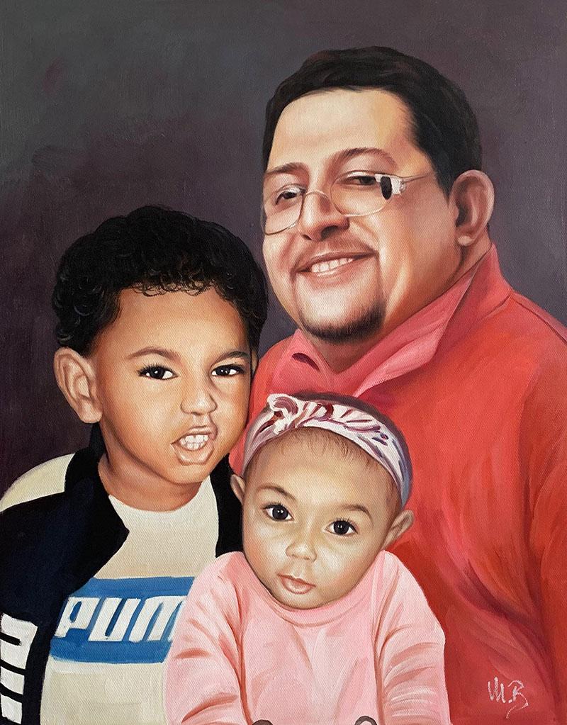 Custom handmade acrylic portrait of a family